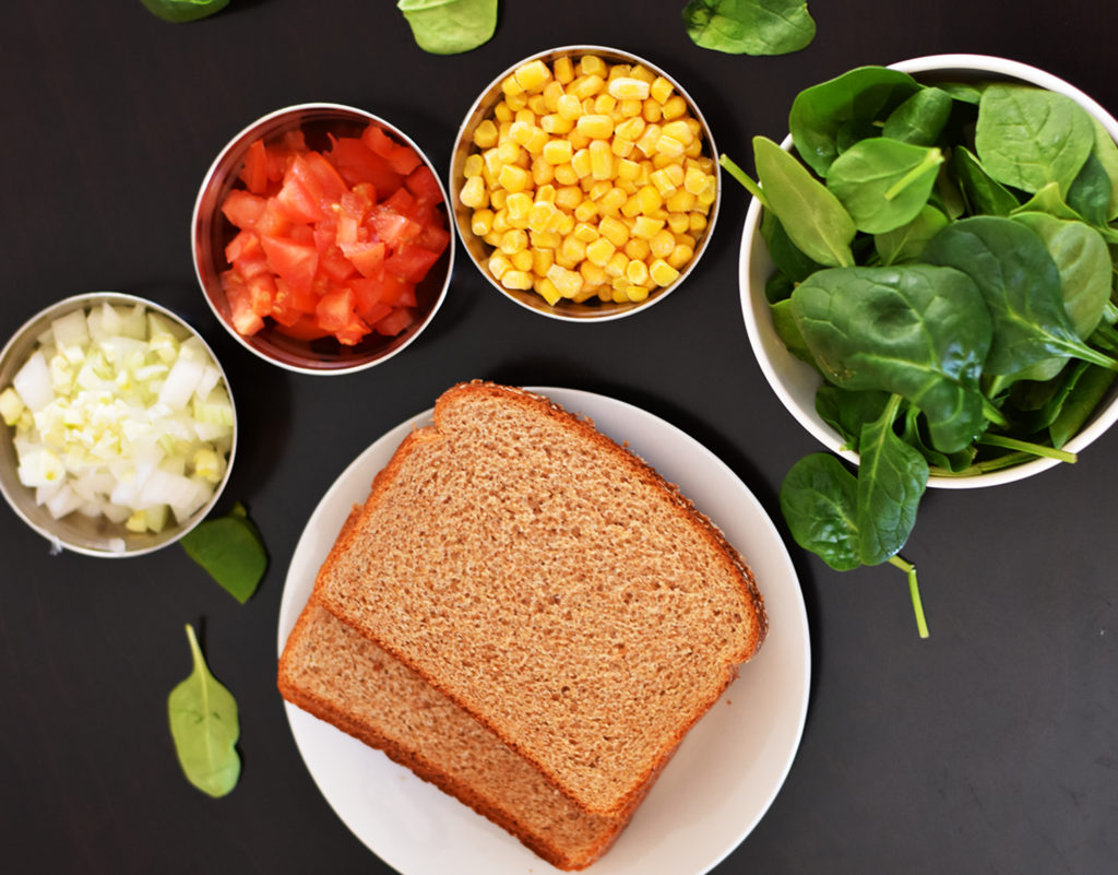 Spinach and corn Sandwich